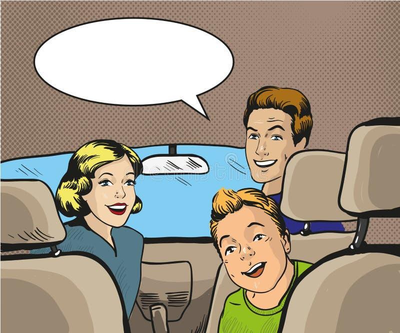 Οικογενειακή συνεδρίαση στο αυτοκίνητο που ξανακοιτάζει Διανυσματική απεικόνιση στο λαϊκό ύφος τέχνης, αναδρομικό κόμικς διανυσματική απεικόνιση