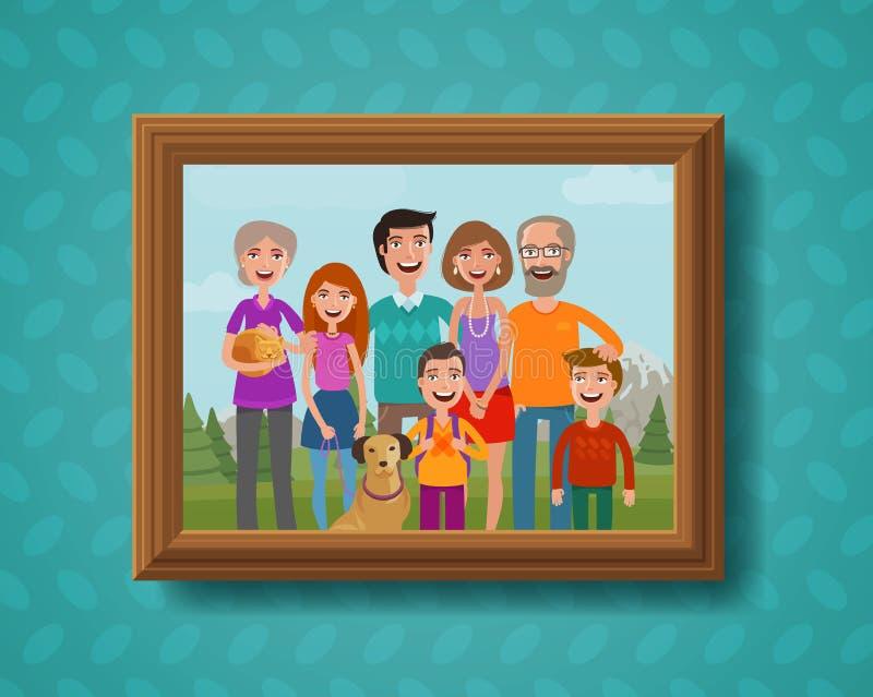 Οικογενειακή φωτογραφία στον τοίχο στο ξύλινο πλαίσιο η αλλοδαπή γάτα κινούμενων σχεδίων δραπετεύει το διάνυσμα στεγών απεικόνιση διανυσματική απεικόνιση