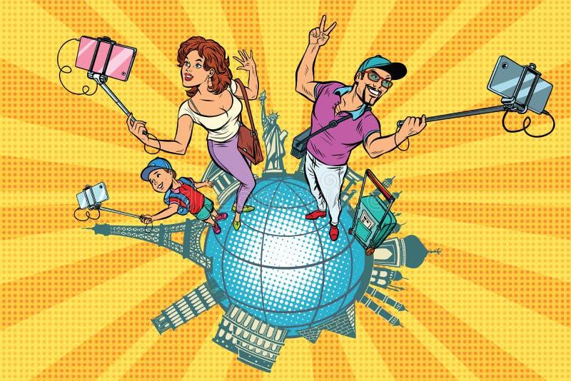 Οικογενειακοί τουρίστες και selfie, ένα ταξίδι σε όλο τον κόσμο διανυσματική απεικόνιση