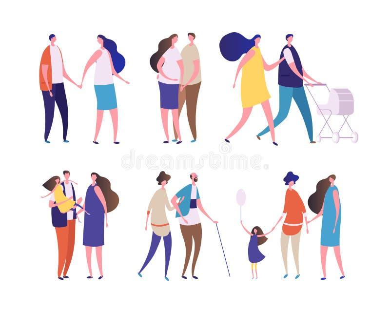 Οικογενειακοί χαρακτήρες Νέοι άνθρωποι ηλικίας, μπαμπάς mom, grandma grandpa, παιδιά και έφηβοι Παιδιά γονέων, ευτυχείς οικογένει απεικόνιση αποθεμάτων