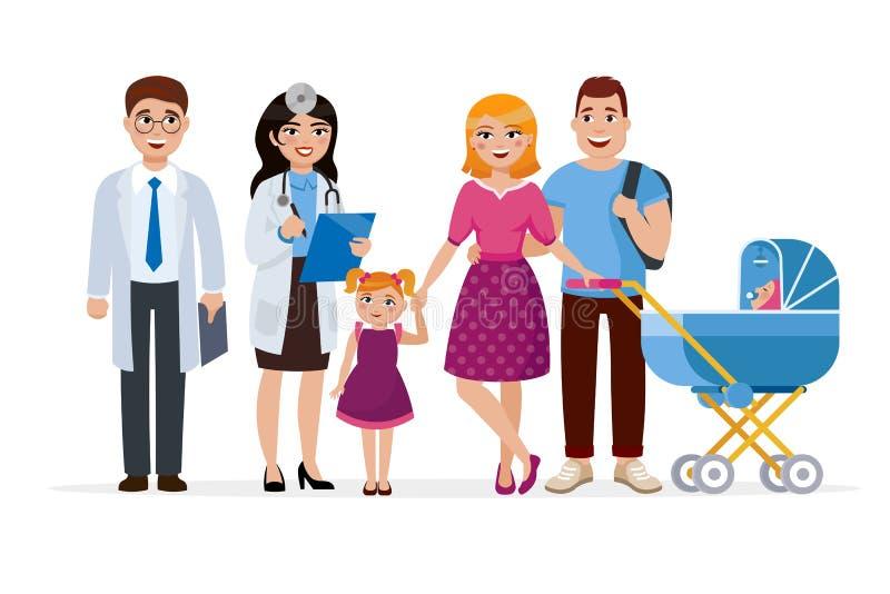 Οικογενειακός γιατρός και υγιής απεικόνιση έννοιας οικογενειακών χαρακτηρών κινουμένων σχεδίων στο επίπεδο σχέδιο Δύο γιατροί και απεικόνιση αποθεμάτων