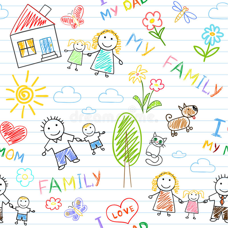 οικογενειακός ευτυχής άνευ ραφής ανασκόπησης ελεύθερη απεικόνιση δικαιώματος