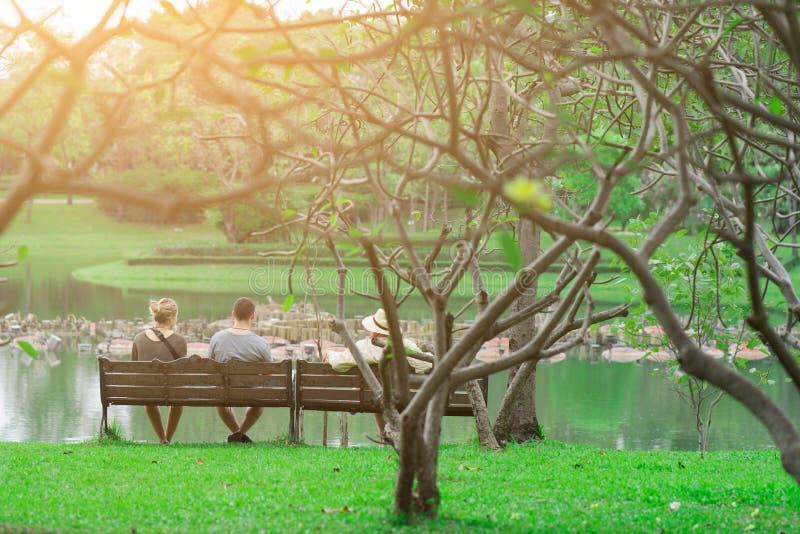Οικογενειακός ευτυχής χρόνος στην προκυμαία στον κήπο στοκ φωτογραφία με δικαίωμα ελεύθερης χρήσης