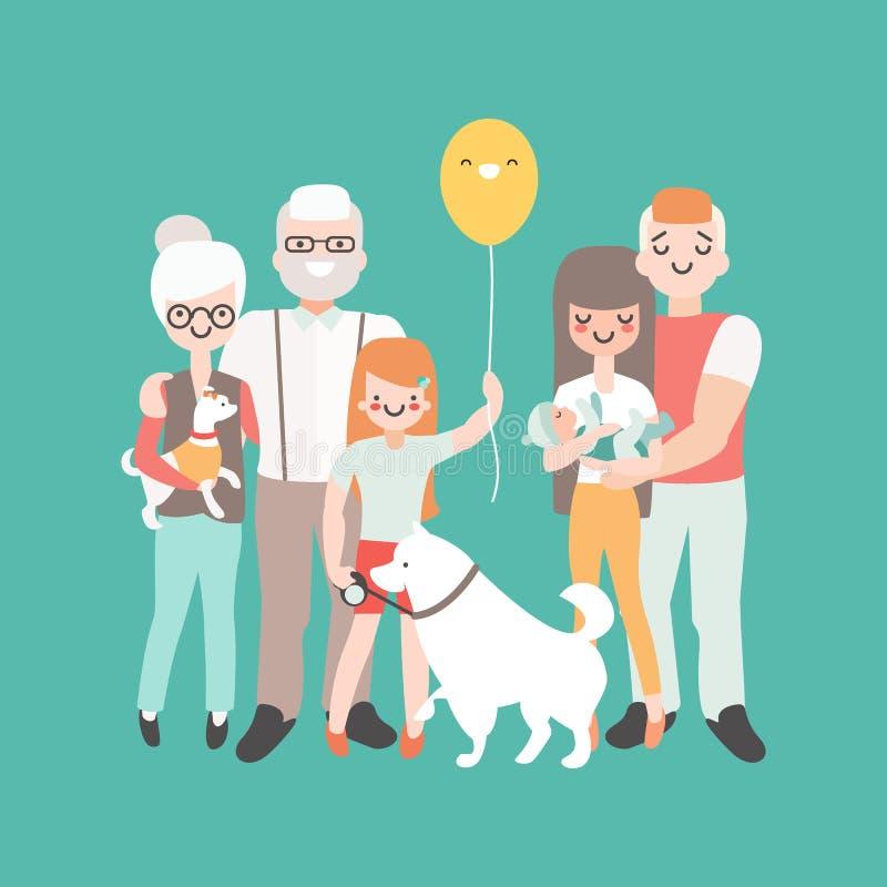 οικογενειακός ευτυχή&s Διανυσματική απεικόνιση στο γραμμικό σχέδιο ύφους Χαρακτήρες ανθρώπων κινούμενων σχεδίων γενεές τρία απεικόνιση αποθεμάτων