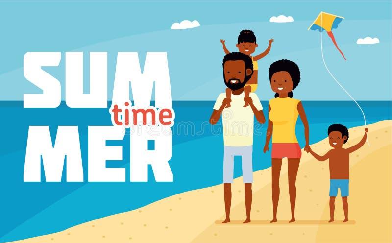 Οικογενειακός ελεύθερος χρόνος νεολαίες ενηλίκων Ευτυχείς αφρικανικές οικογενειακή παραθαλάσσιες διακοπές οικογενειακή διασκέδ&al ελεύθερη απεικόνιση δικαιώματος