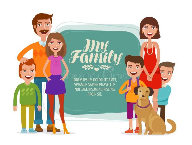 Οικογενειακό έμβλημα Ευτυχείς άνθρωποι, γονείς και παιδιά η αλλοδαπή γάτα κινούμενων σχεδίων δραπετεύει το διάνυσμα στεγών απεικό διανυσματική απεικόνιση