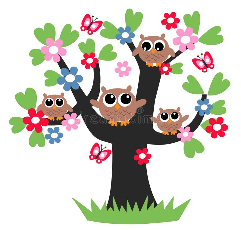 Οικογενειακό δέντρο κουκουβαγιών απεικόνιση αποθεμάτων