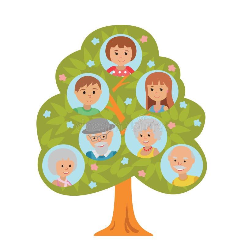 Οικογενειακό δέντρο παραγωγής κινούμενων σχεδίων στους επίπεδους γονείς και το παιδί παππούδων και γιαγιάδων ύφους που απομονώνον διανυσματική απεικόνιση