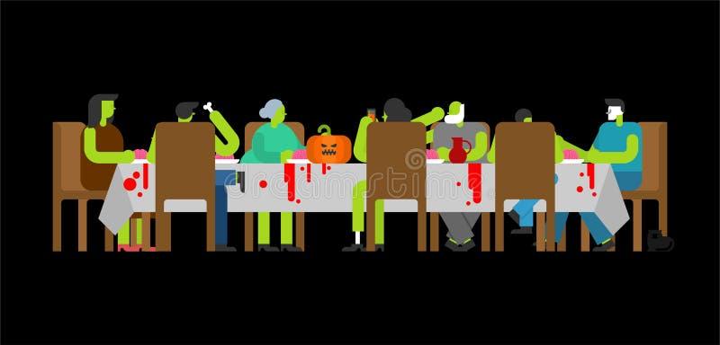 Οικογενειακό γεύμα Zombie Μεγάλος πίνακας Εορτασμός συγγενών αποκριών ελεύθερη απεικόνιση δικαιώματος
