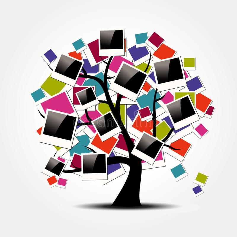 Οικογενειακό δέντρο μνήμης με τα πλαίσια φωτογραφιών polaroid διανυσματική απεικόνιση
