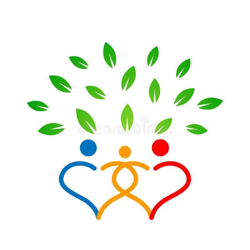 Οικογενειακό δέντρο στο γονέα συμβόλων δέντρων καρδιών, παιδί, προσοχή, διάνυσμα σχεδίου εικονιδίων υγειονομικής αγωγής στο άσπρο διανυσματική απεικόνιση