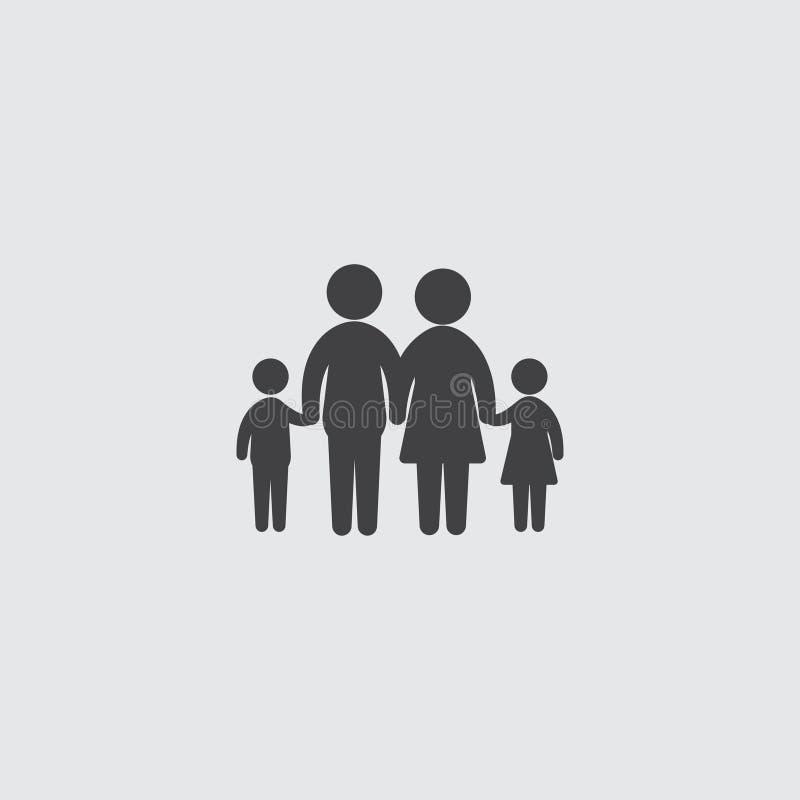 Οικογενειακό εικονίδιο σε ένα επίπεδο σχέδιο στο μαύρο χρώμα Διανυσματική απεικόνιση EPS10 ελεύθερη απεικόνιση δικαιώματος