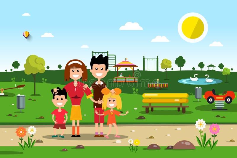 οικογενειακό ευτυχές πάρκο μπλε σύννεφων πλήρες πράσινο τοπίο εστίασης πεδίων ημέρας οφειλόμενο λίγη μετακίνηση όχι εμφανίζει στο διανυσματική απεικόνιση