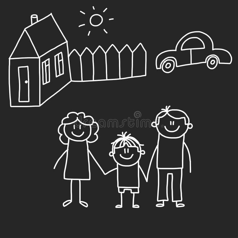 οικογενειακό ευτυχές & Παιδιά τη διανυσματική απεικόνιση ύφους που απομονώνεται που επισύρουν την προσοχή στο υπόβαθρο πινάκων Μη διανυσματική απεικόνιση