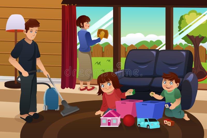 Οικογενειακό καθαρίζοντας σπίτι απεικόνιση αποθεμάτων
