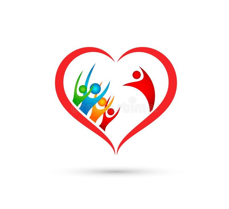 Οικογενειακό λογότυπο ανθρώπων στο κερδίζοντας σύμβολο υγείας wellness επιτυχίας ομάδων υγείας ευτυχίας εικονιδίων μορφής καρδιών απεικόνιση αποθεμάτων