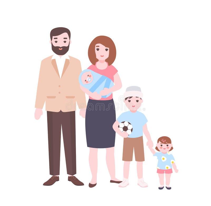 οικογενειακό μεγάλο π&omic Μητέρα που κρατά το νεογέννητους μωρό, τον πατέρα, και τα παιδιά που στέκονται από κοινού Λατρευτοί χα διανυσματική απεικόνιση