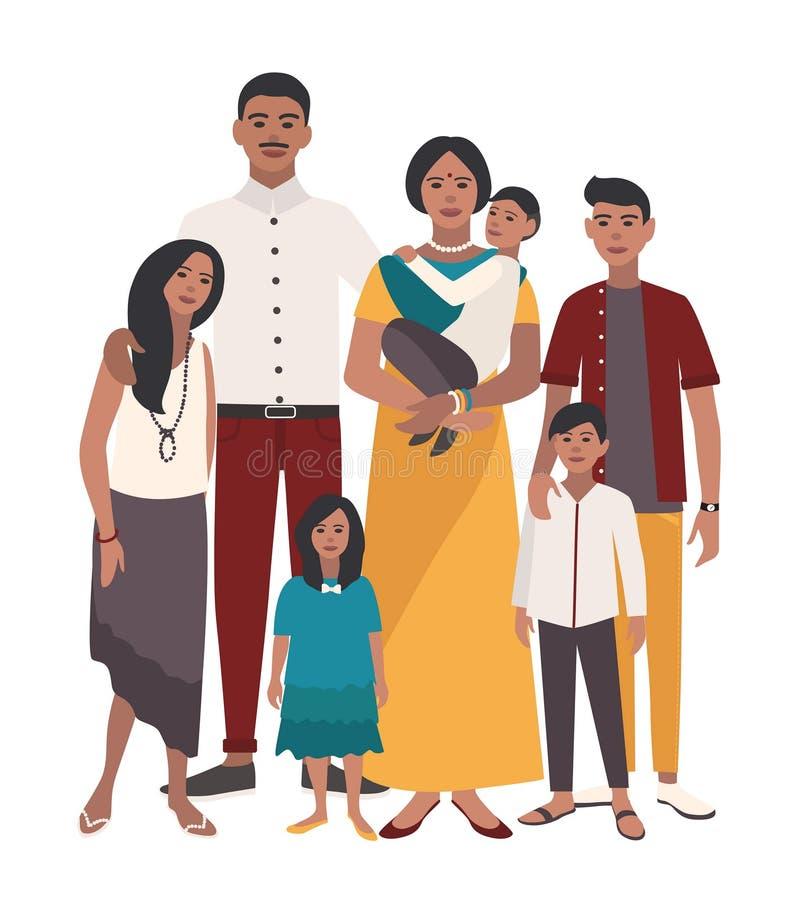 οικογενειακό μεγάλο π&omic Ινδική μητέρα, πατέρας και πέντε παιδιά Ευτυχείς άνθρωποι με τους συγγενείς Ζωηρόχρωμη επίπεδη απεικόν απεικόνιση αποθεμάτων