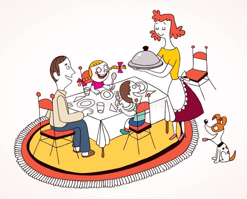 Οικογενειακό μεσημεριανό γεύμα διανυσματική απεικόνιση