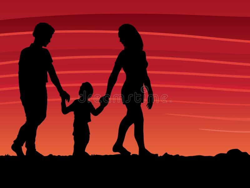 οικογενειακό περπάτημα διανυσματική απεικόνιση