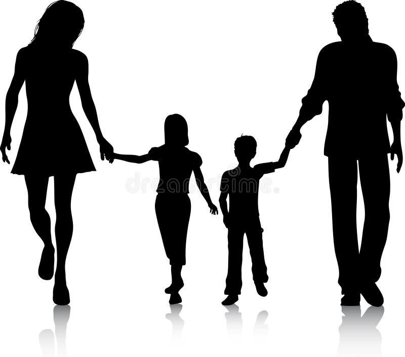 οικογενειακό περπάτημα απεικόνιση αποθεμάτων