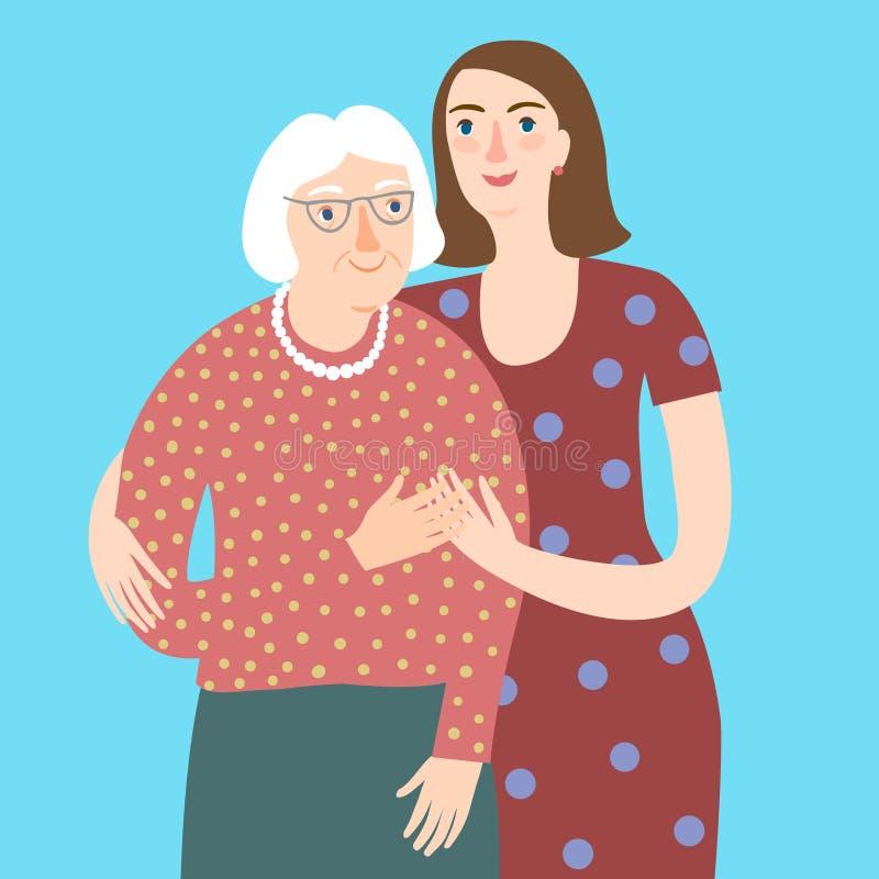 Οικογενειακό πορτρέτο με τη ηλικιωμένη κυρία με τη νέα γυναίκα απεικόνιση αποθεμάτων
