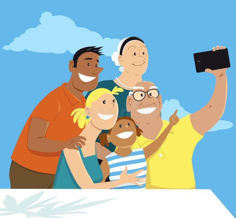Οικογενειακό πορτρέτο με τους παππούδες και γιαγιάδες ελεύθερη απεικόνιση δικαιώματος