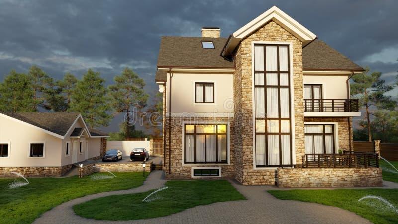Οικογενειακό σπίτι πολυτέλειας με τον εξωραϊσμό διανυσματική απεικόνιση