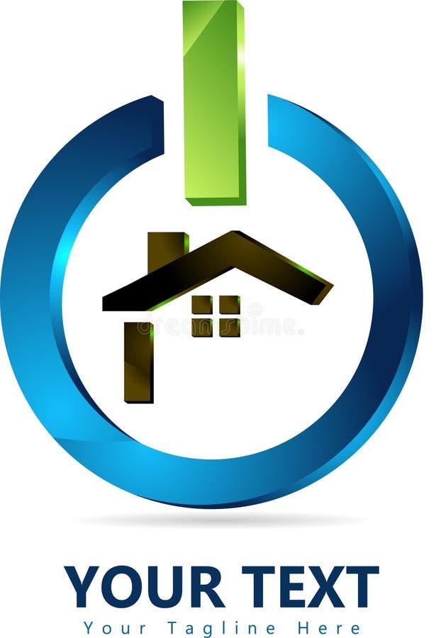 Οικογενειακό σπίτι, σχέδιο εγχώριων λογότυπων στο τρισδιάστατο κουμπί δύναμης διανυσματική απεικόνιση
