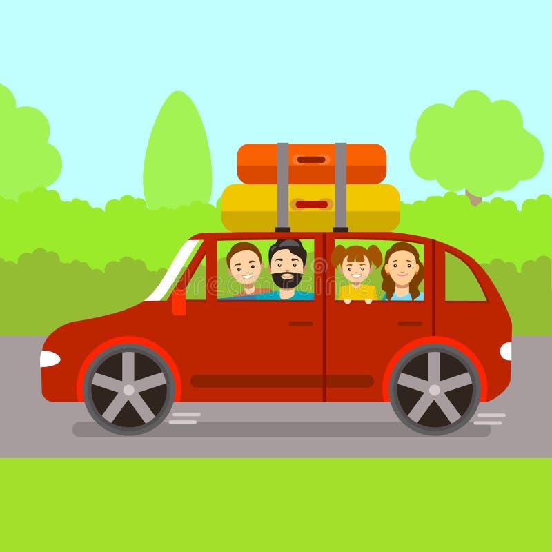 Οικογενειακό ταξίδι κινούμενων σχεδίων με το κόκκινο αυτοκίνητο διάνυσμα ελεύθερη απεικόνιση δικαιώματος
