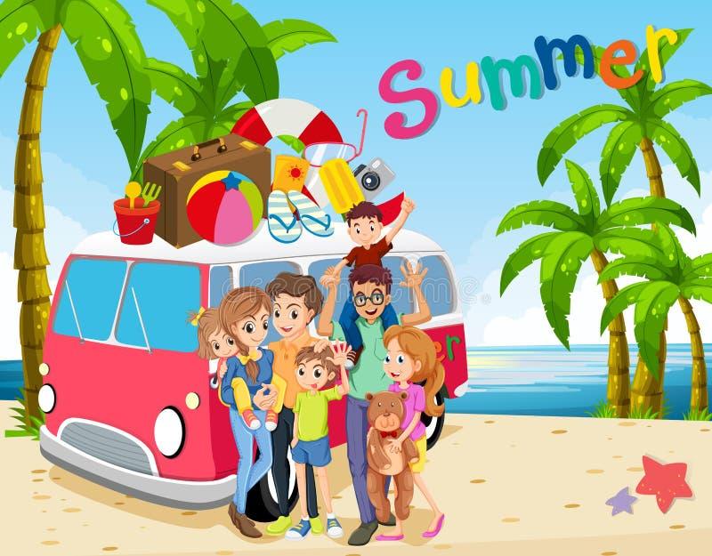 Οικογενειακό ταξίδι στην παραλία διανυσματική απεικόνιση