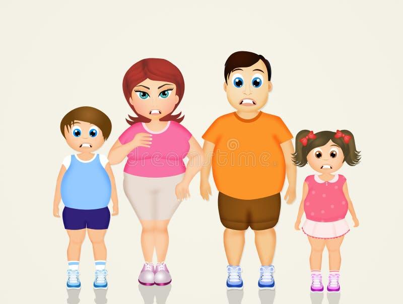 Οικογενειακό υπερβολικό βάρος διανυσματική απεικόνιση