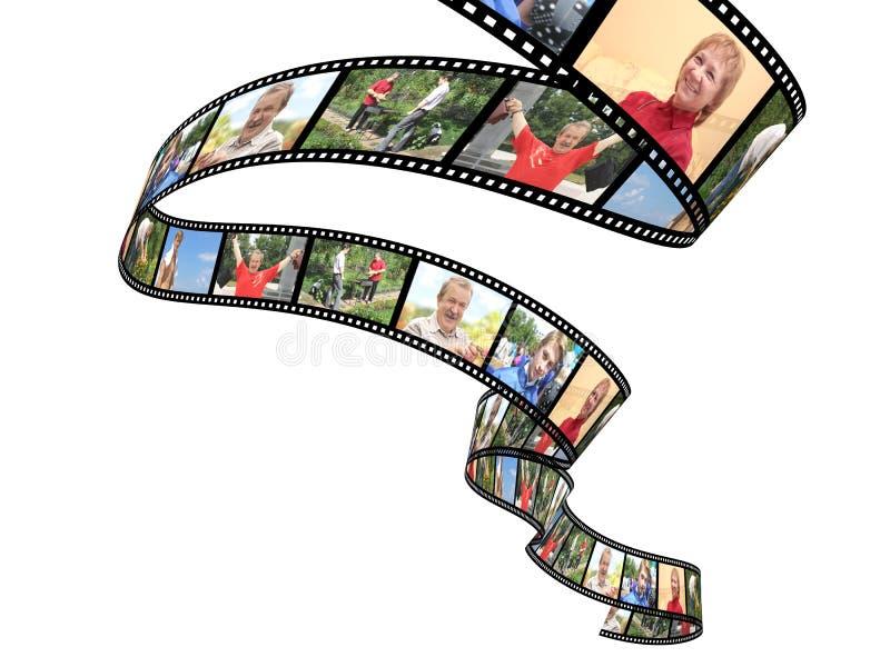 οικογενειακό filmstrip απομονωμένο αντικείμενο πέρα από το λευκό φωτογραφιών διανυσματική απεικόνιση
