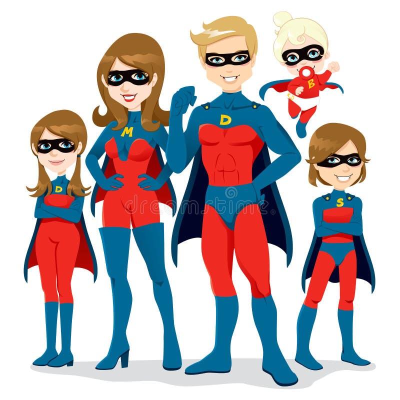 οικογενειακό superhero κοστουμιών διανυσματική απεικόνιση