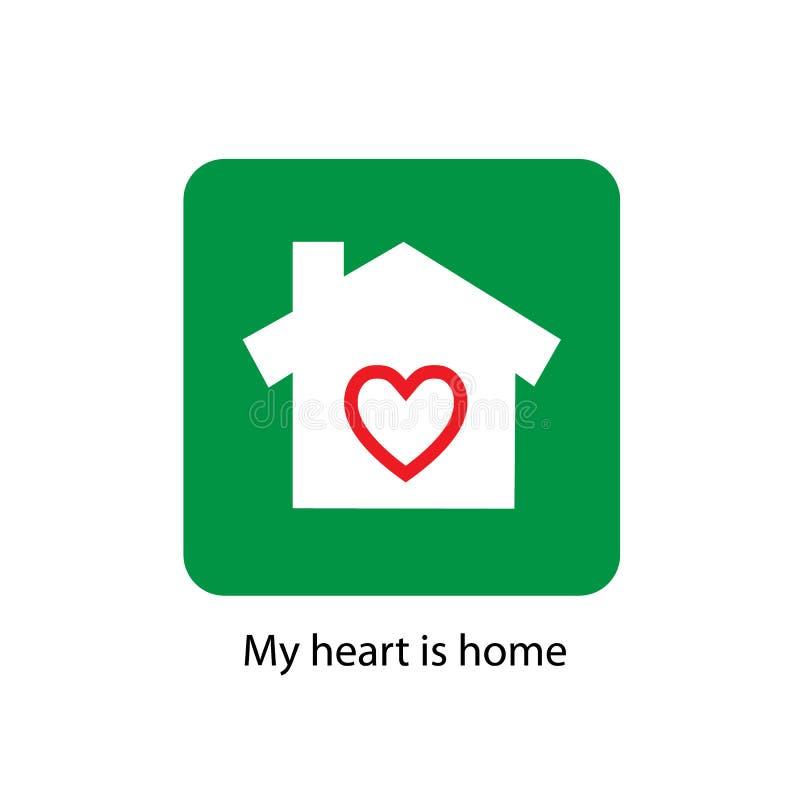 Οικογενειακών σπιτιών επίπεδο εικονίδιο σκιών σχεδίου μακροχρόνιο glyph Σπίτι με τη μορφή καρδιών μέσα επίσης corel σύρετε το διά διανυσματική απεικόνιση