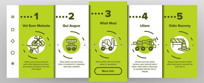 Οικοδομής κινητή App στοιχείων διανυσματική οθόνη σελίδων Onboarding ελεύθερη απεικόνιση δικαιώματος