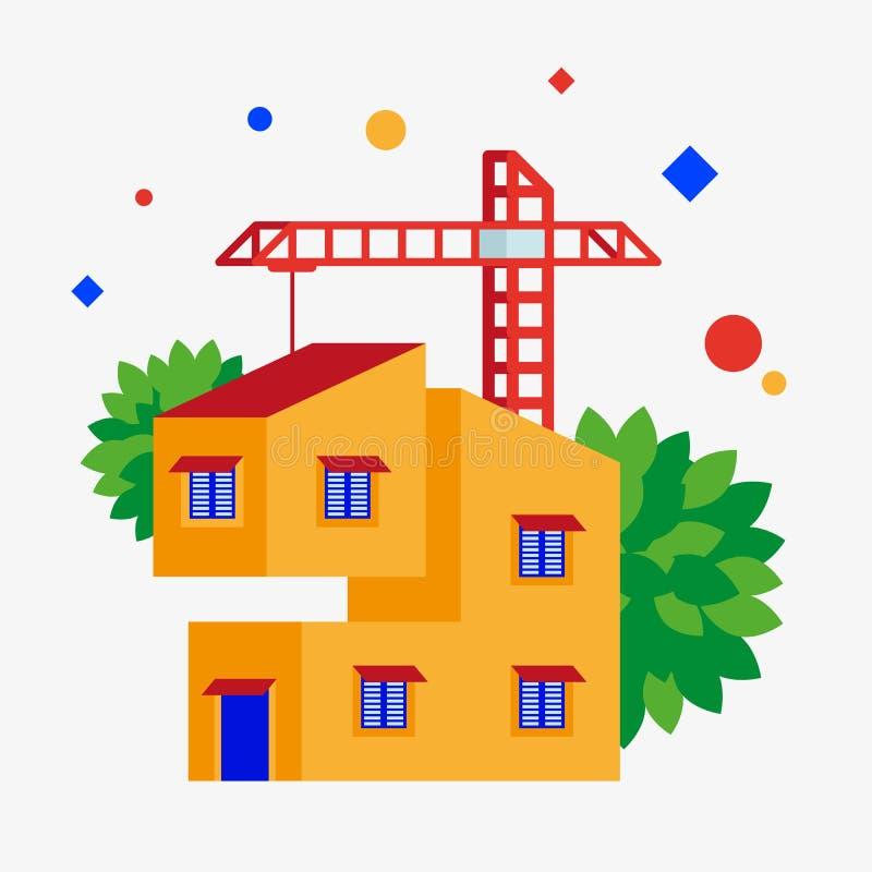 Οικοδόμηση ενός σπιτιού διανυσματική απεικόνιση