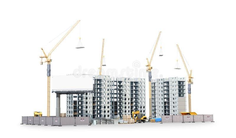 Οικοδόμηση νέου κατοικημένου ενός σύνθετου, το έδαφος των οικοδομικών υλικών απεικόνιση αποθεμάτων