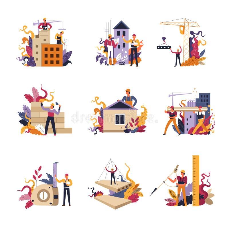 Οικοδόμηση της κατασκευής, των σπιτιών και των σπιτιών, εργασία εργατών ελεύθερη απεικόνιση δικαιώματος