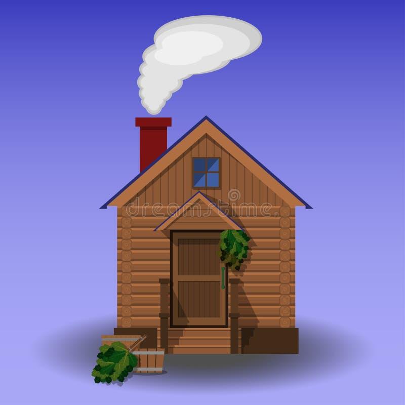 Οικοδόμηση της ξύλινης σάουνας ελεύθερη απεικόνιση δικαιώματος