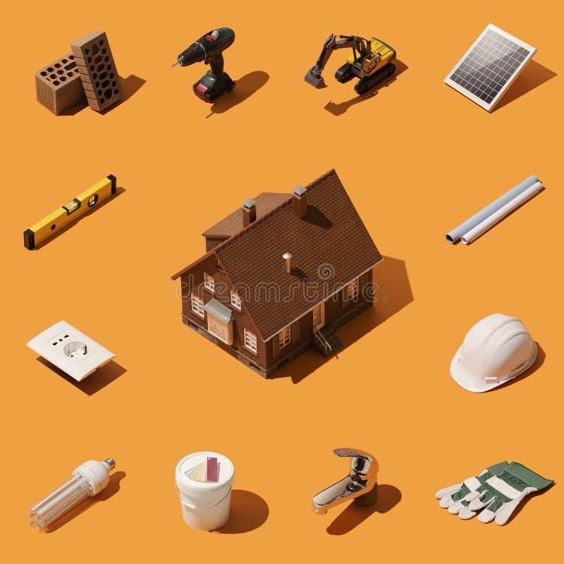 Οικοδόμηση του καινούργιου σπιτιού σας ελεύθερη απεικόνιση δικαιώματος
