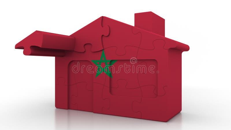 Οικοδόμηση του σπιτιού γρίφων που χαρακτηρίζει τη σημαία του Μαρόκου Μαροκινός εννοιολογικός τρισδιάστατος αποδημίας, κατασκευής  ελεύθερη απεικόνιση δικαιώματος