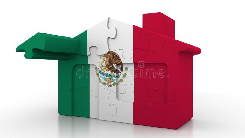 Οικοδόμηση του σπιτιού γρίφων που χαρακτηρίζει τη σημαία του Μεξικού Μεξικάνικος εννοιολογικός τρισδιάστατος αποδημίας, κατασκευή διανυσματική απεικόνιση