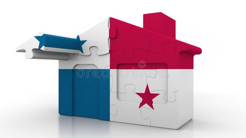 Οικοδόμηση του σπιτιού γρίφων που χαρακτηρίζει τη σημαία του Παναμά Αποδημία Panamian, κατασκευή ή εννοιολογικός τρισδιάστατος κτ απεικόνιση αποθεμάτων