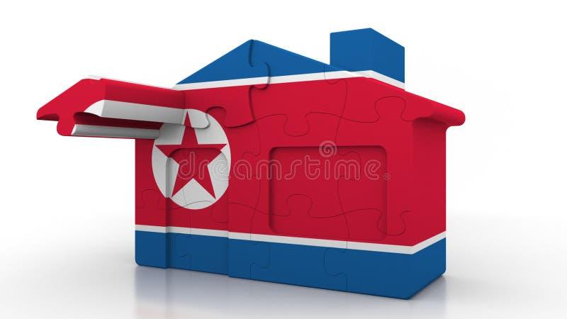 Οικοδόμηση του σπιτιού γρίφων που χαρακτηρίζει τη σημαία της Βόρεια Κορέας Κορεατική εννοιολογική τρισδιάστατη απόδοση κατασκευής απεικόνιση αποθεμάτων