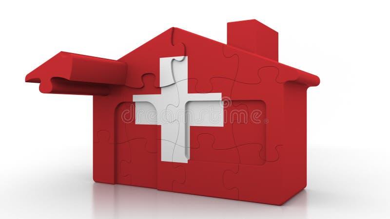 Οικοδόμηση του σπιτιού γρίφων που χαρακτηρίζει τη σημαία της Ελβετίας Ελβετικός εννοιολογικός τρισδιάστατος αποδημίας, κατασκευής διανυσματική απεικόνιση