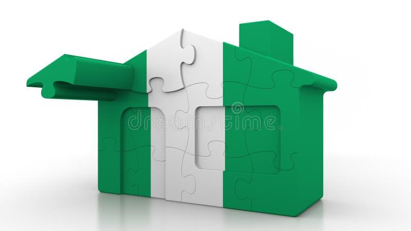 Οικοδόμηση του σπιτιού γρίφων που χαρακτηρίζει τη σημαία της Νιγηρίας Νιγηριανός εννοιολογικός τρισδιάστατος αποδημίας, κατασκευή διανυσματική απεικόνιση