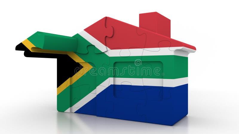 Οικοδόμηση του σπιτιού γρίφων που χαρακτηρίζει τη σημαία της Νότιας Αφρικής Αποδημία SAR, κατασκευή ή εννοιολογικός τρισδιάστατος διανυσματική απεικόνιση