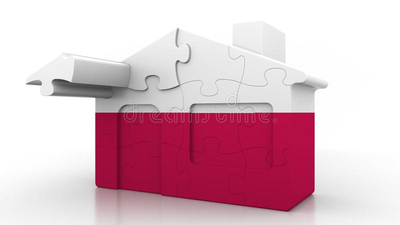 Οικοδόμηση του σπιτιού γρίφων που χαρακτηρίζει τη σημαία της Πολωνίας Πολωνικός εννοιολογικός τρισδιάστατος αποδημίας, κατασκευής διανυσματική απεικόνιση