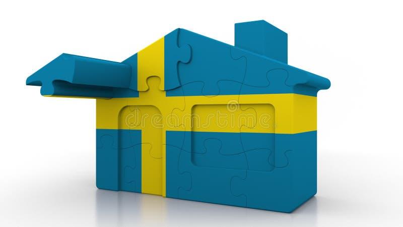 Οικοδόμηση του σπιτιού γρίφων που χαρακτηρίζει τη σημαία της Σουηδίας Σουηδικός εννοιολογικός τρισδιάστατος αποδημίας, κατασκευής απεικόνιση αποθεμάτων